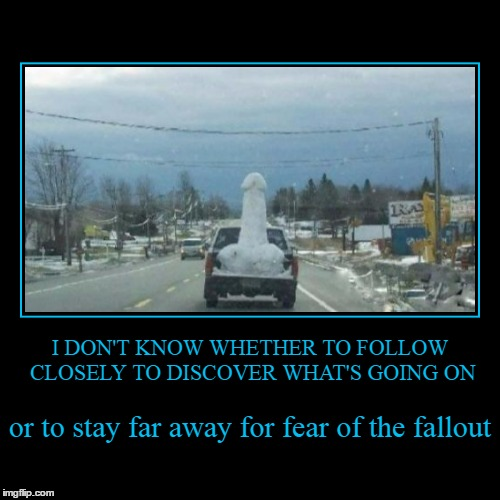 that's a....thing | I DON'T KNOW WHETHER TO FOLLOW CLOSELY TO DISCOVER WHAT'S GOING ON | or to stay far away for fear of the fallout | image tagged in funny,demotivationals,memes,sex,penis | made w/ Imgflip demotivational maker