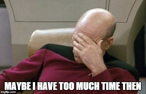 Captain Picard Facepalm Meme | MAYBE I HAVE TOO MUCH TIME THEN | image tagged in memes,captain picard facepalm | made w/ Imgflip meme maker