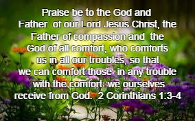 Praise be to the God and Father  of our Lord Jesus Christ, the Father of compassion and  the God of all comfort, who comforts us in all our  | image tagged in flowers | made w/ Imgflip meme maker