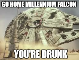 There is always that one guy | GO HOME MILLENNIUM FALCON YOU'RE DRUNK | image tagged in memes,you're drunk,star wars yoda,funny,falcon | made w/ Imgflip meme maker