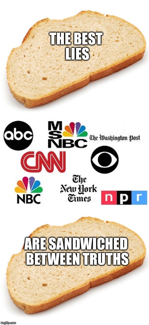 Best Lies | THE BEST LIES ARE SANDWICHED BETWEEN TRUTHS | image tagged in sandwich,truth,news,propaganda,lies,biased media | made w/ Imgflip meme maker