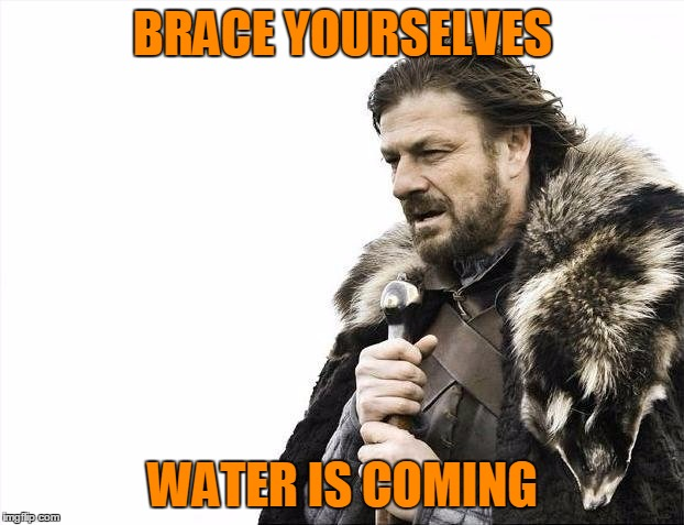 Brace Yourselves X is Coming Meme | BRACE YOURSELVES WATER IS COMING | image tagged in memes,brace yourselves x is coming | made w/ Imgflip meme maker