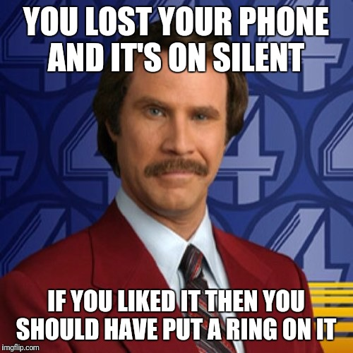 YOU LOST YOUR PHONE AND IT'S ON SILENT IF YOU LIKED IT THEN YOU SHOULD HAVE PUT A RING ON IT | image tagged in ron burgundy smile,memes,funny,song lyrics | made w/ Imgflip meme maker