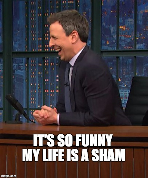 IT'S SO FUNNY MY LIFE IS A SHAM | image tagged in seth meyers,the late show,funny | made w/ Imgflip meme maker