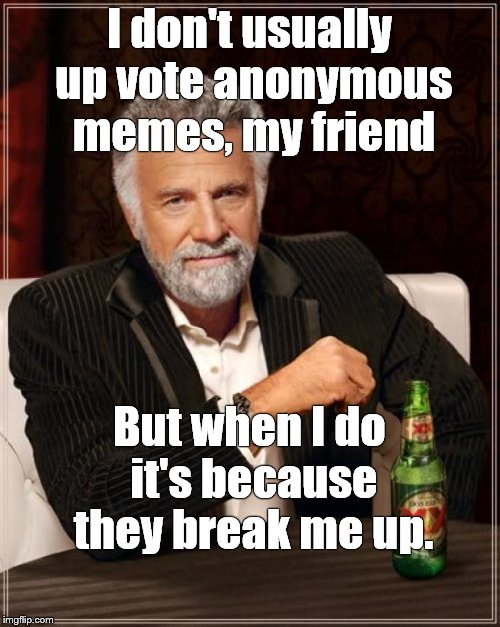 The Most Interesting Man In The World Meme | I don't usually up vote anonymous memes, my friend But when I do it's because they break me up. | image tagged in memes,the most interesting man in the world | made w/ Imgflip meme maker