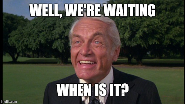 Caddyshack- Ted knight 2 | WELL, WE'RE WAITING WHEN IS IT? | image tagged in caddyshack- ted knight 2 | made w/ Imgflip meme maker