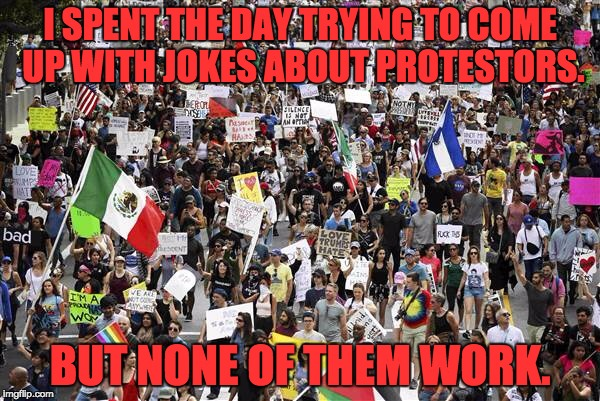 Trump protestors |  I SPENT THE DAY TRYING TO COME UP WITH JOKES ABOUT PROTESTORS. BUT NONE OF THEM WORK. | image tagged in trump protestors | made w/ Imgflip meme maker