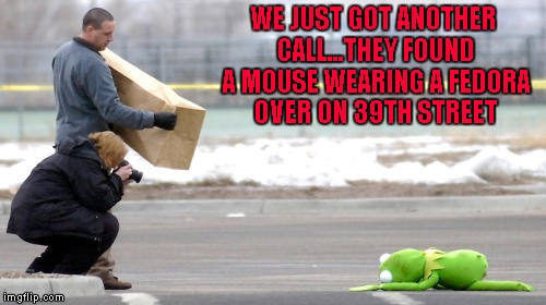 WE JUST GOT ANOTHER CALL...THEY FOUND A MOUSE WEARING A FEDORA OVER ON 39TH STREET | made w/ Imgflip meme maker