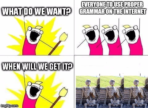 what do we want with waiting skeletons | EVERYONE TO USE PROPER GRAMMAR ON THE INTERNET | image tagged in what do we want with waiting skeletons | made w/ Imgflip meme maker
