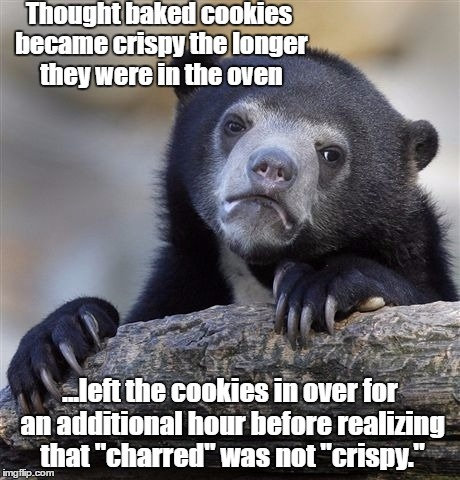 Confession Bear Meme | Thought baked cookies became crispy the longer they were in the oven ...left the cookies in over for an additional hour before realizing tha | image tagged in memes,confession bear | made w/ Imgflip meme maker