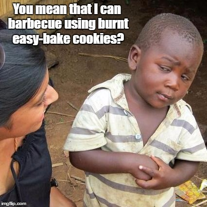 Third World Skeptical Kid Meme | You mean that I can barbecue using burnt easy-bake cookies? | image tagged in memes,third world skeptical kid | made w/ Imgflip meme maker