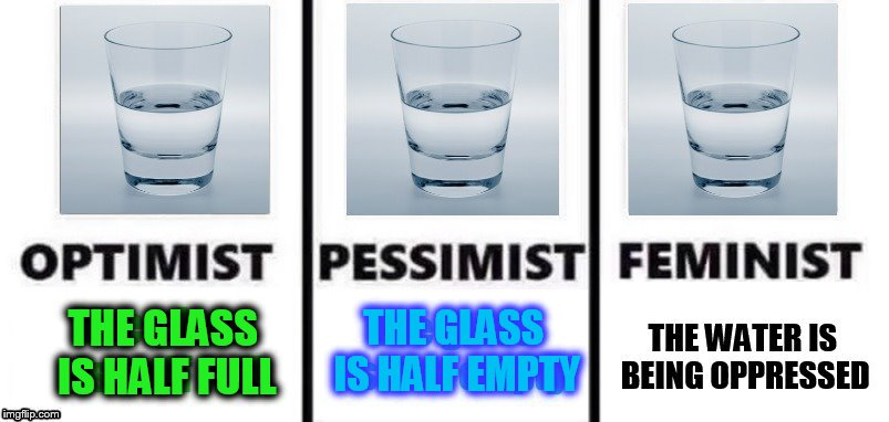 Pick 1 of 3 |  THE GLASS IS HALF EMPTY; THE GLASS IS HALF FULL | image tagged in memes,optimist,pessimist,feminist,half full,test request | made w/ Imgflip meme maker