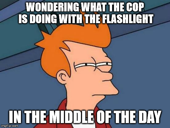 Futurama Fry Meme | WONDERING WHAT THE COP IS DOING WITH THE FLASHLIGHT IN THE MIDDLE OF THE DAY | image tagged in memes,futurama fry | made w/ Imgflip meme maker