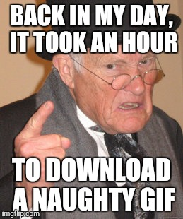 Back In My Day Meme | BACK IN MY DAY, IT TOOK AN HOUR TO DOWNLOAD A NAUGHTY GIF | image tagged in memes,back in my day | made w/ Imgflip meme maker