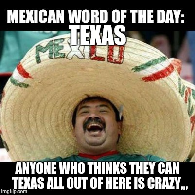 Deep in the heart of,,, | TEXAS ANYONE WHO THINKS THEY CAN  TEXAS ALL OUT OF HERE IS CRAZY,,, | image tagged in mexican wall,mexican word of the day | made w/ Imgflip meme maker