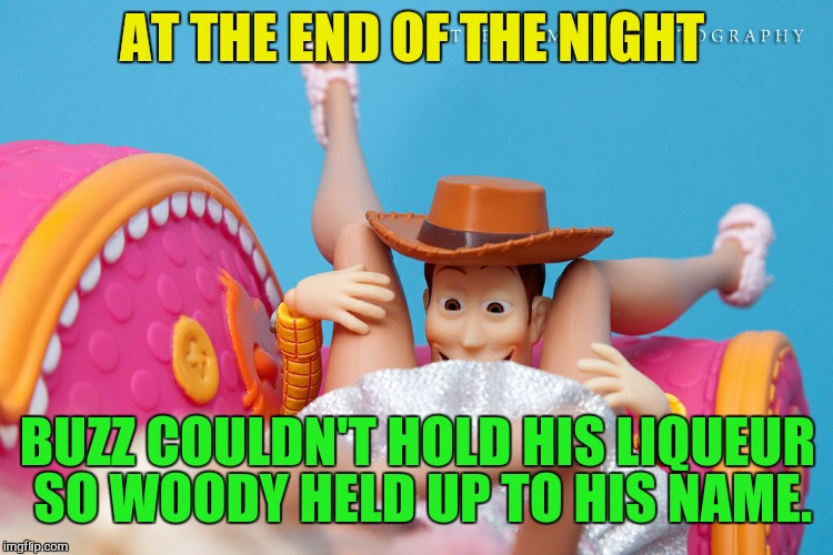 AT THE END OF THE NIGHT BUZZ COULDN'T HOLD HIS LIQUEUR SO WOODY HELD UP TO HIS NAME. | made w/ Imgflip meme maker