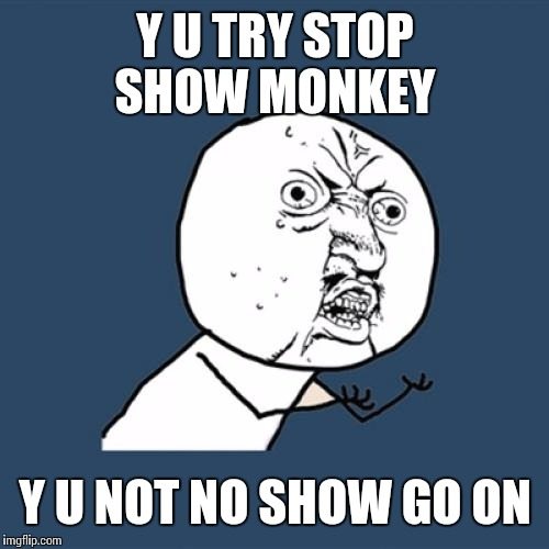 Y U No Meme | Y U TRY STOP SHOW MONKEY Y U NOT NO SHOW GO ON | image tagged in memes,y u no | made w/ Imgflip meme maker