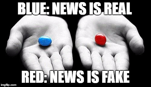 Choose your reality | BLUE: NEWS IS REAL RED: NEWS IS FAKE | image tagged in memes,fake news,alternate reality,liberal vs conservative,donald trump approves,choose wisely | made w/ Imgflip meme maker