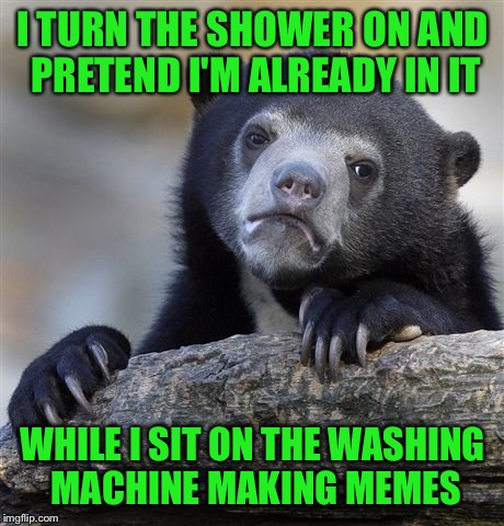 Don't Judge Me!! A Girls Gotta Meme!  | I TURN THE SHOWER ON AND PRETEND I'M ALREADY IN IT WHILE I SIT ON THE WASHING MACHINE MAKING MEMES | image tagged in memes,confession bear | made w/ Imgflip meme maker