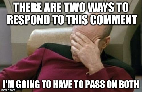Captain Picard Facepalm Meme | THERE ARE TWO WAYS TO RESPOND TO THIS COMMENT I'M GOING TO HAVE TO PASS ON BOTH | image tagged in memes,captain picard facepalm | made w/ Imgflip meme maker