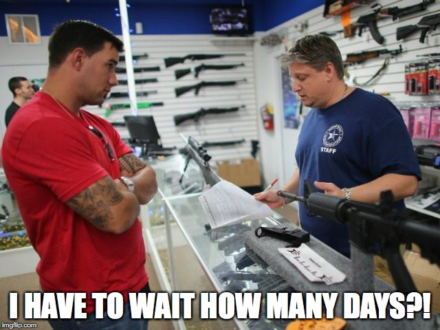 gunstore | I HAVE TO WAIT HOW MANY DAYS?! | image tagged in gunstore | made w/ Imgflip meme maker