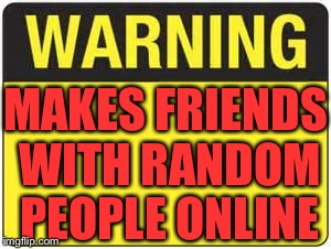 You have a friend in me | MAKES FRIENDS WITH RANDOM PEOPLE ONLINE | image tagged in blank warning sign | made w/ Imgflip meme maker
