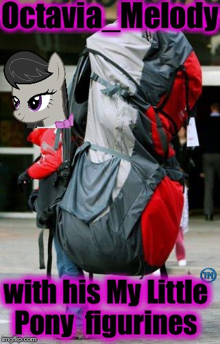 Octavia has been spotted with his Pony stash!  Special thanks to Socrates for the inspiration!  | Octavia_Melody with his My Little Pony  figurines | image tagged in octavia/jansport,memes,evilmandoevil,octavia_melody,funny | made w/ Imgflip meme maker