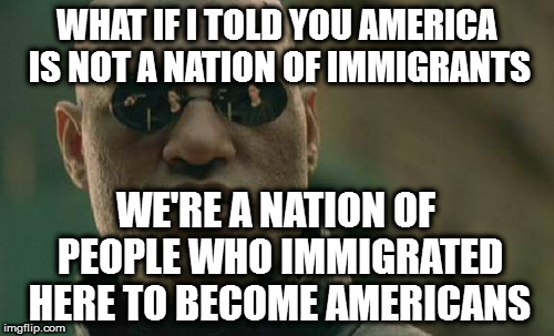 Matrix Morpheus Meme | WHAT IF I TOLD YOU AMERICA IS NOT A NATION OF IMMIGRANTS WE'RE A NATION OF PEOPLE WHO IMMIGRATED HERE TO BECOME AMERICANS | image tagged in memes,matrix morpheus | made w/ Imgflip meme maker