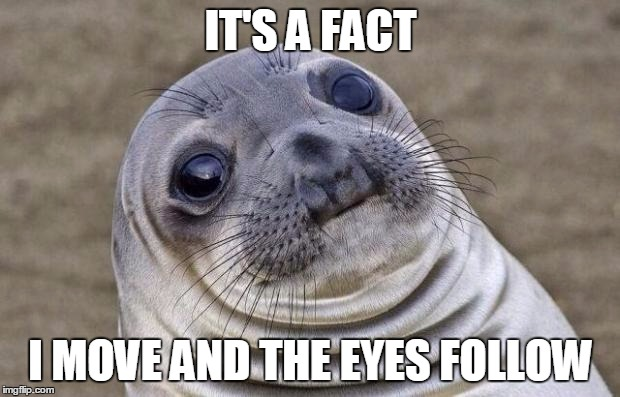 Awkward Moment Sealion Meme | IT'S A FACT I MOVE AND THE EYES FOLLOW | image tagged in memes,awkward moment sealion | made w/ Imgflip meme maker