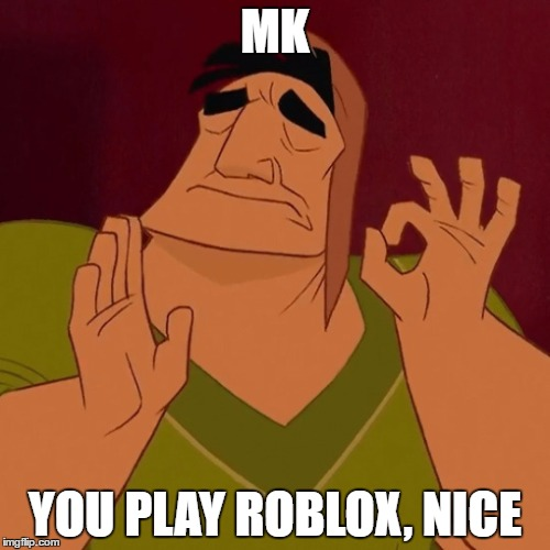 when the sun hits the ridge just right |  MK; YOU PLAY ROBLOX, NICE | image tagged in when the sun hits the ridge just right | made w/ Imgflip meme maker