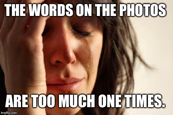 First World Problems Meme | THE WORDS ON THE PHOTOS ARE TOO MUCH ONE TIMES. | image tagged in memes,first world problems | made w/ Imgflip meme maker
