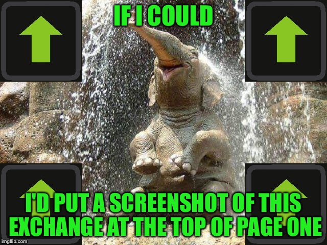 Upvote Elephant | IF I COULD I'D PUT A SCREENSHOT OF THIS EXCHANGE AT THE TOP OF PAGE ONE | image tagged in upvote elephant | made w/ Imgflip meme maker