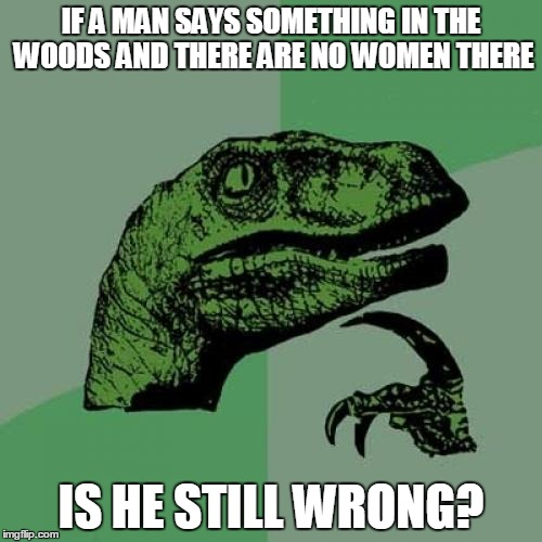 Philosoraptor | IF A MAN SAYS SOMETHING IN THE WOODS AND THERE ARE NO WOMEN THERE IS HE STILL WRONG? | image tagged in memes,philosoraptor | made w/ Imgflip meme maker