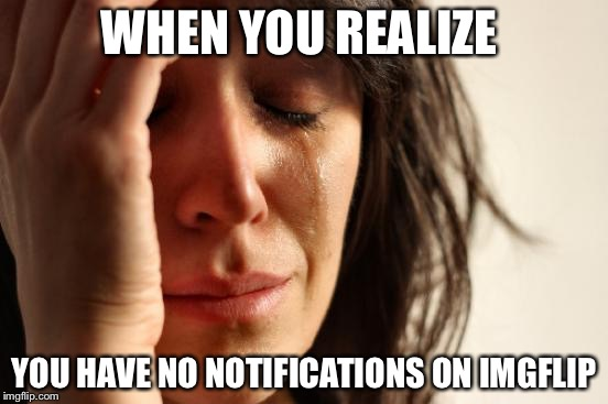 When you log on to imgflip | WHEN YOU REALIZE YOU HAVE NO NOTIFICATIONS ON IMGFLIP | image tagged in memes,first world problems,notifications | made w/ Imgflip meme maker