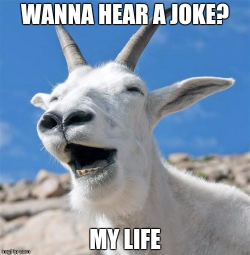 True story | WANNA HEAR A JOKE? MY LIFE | image tagged in memes,laughing goat | made w/ Imgflip meme maker