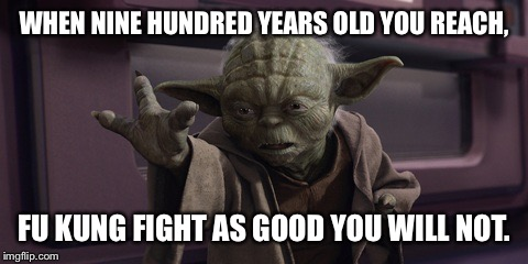 Kung Fu Master Yoda |  WHEN NINE HUNDRED YEARS OLD YOU REACH, FU KUNG FIGHT AS GOOD YOU WILL NOT. | image tagged in advice yoda,star wars yoda,kung fu | made w/ Imgflip meme maker