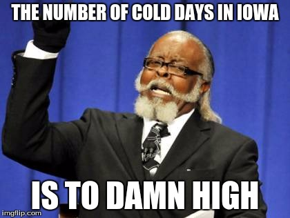 True....TOO TRUE | THE NUMBER OF COLD DAYS IN IOWA IS TO DAMN HIGH | image tagged in memes,too damn high | made w/ Imgflip meme maker