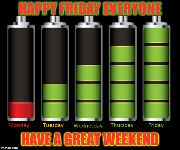 It is finally Friday  | HAPPY FRIDAY EVERYONE HAVE A GREAT WEEKEND | image tagged in happy,weekend,battery | made w/ Imgflip meme maker