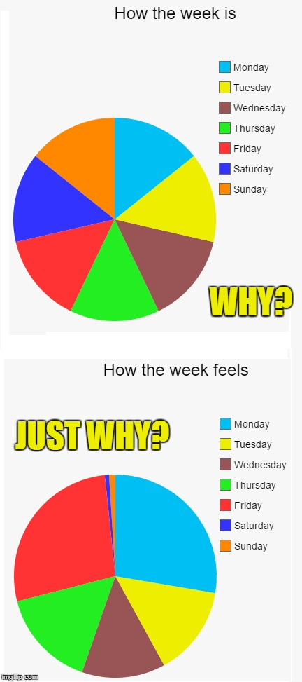 Dammit... | WHY? JUST WHY? | image tagged in pie charts,the week,weekdays | made w/ Imgflip meme maker