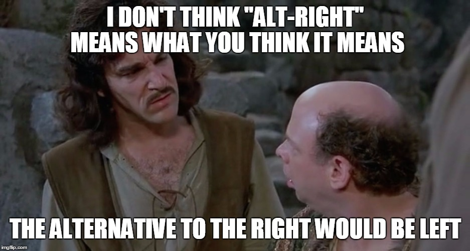 "Inigo confused | I DON'T THINK ""ALT-RIGHT"" MEANS WHAT YOU THINK IT MEANS THE ALTERNATIVE TO THE RIGHT WOULD BE LEFT 