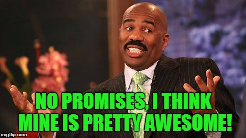 Steve Harvey Meme | NO PROMISES, I THINK MINE IS PRETTY AWESOME! | image tagged in memes,steve harvey | made w/ Imgflip meme maker