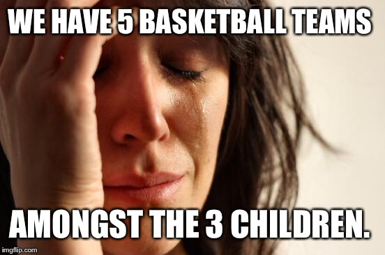 First World Problems Meme | WE HAVE 5 BASKETBALL TEAMS AMONGST THE 3 CHILDREN. | image tagged in memes,first world problems | made w/ Imgflip meme maker