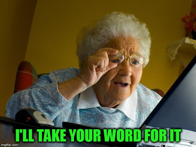 Grandma Finds The Internet Meme | I'LL TAKE YOUR WORD FOR IT | image tagged in memes,grandma finds the internet | made w/ Imgflip meme maker