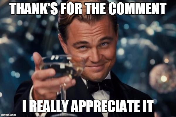 Leonardo Dicaprio Cheers Meme | THANK'S FOR THE COMMENT I REALLY APPRECIATE IT | image tagged in memes,leonardo dicaprio cheers | made w/ Imgflip meme maker
