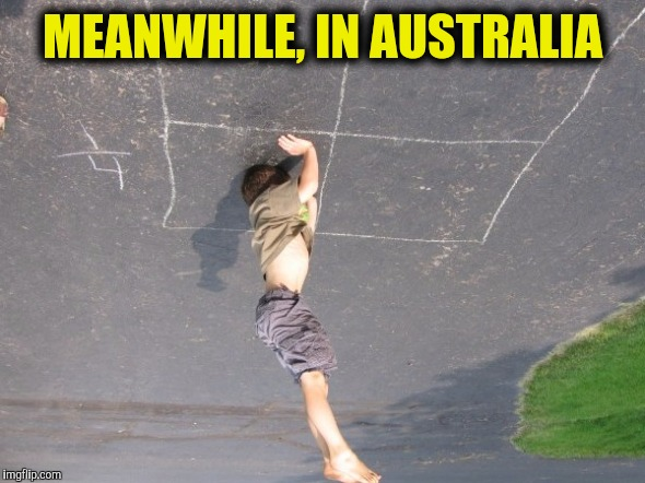 Not sure if standing on his head down under, or holding up the world like Atlas |  MEANWHILE, IN AUSTRALIA | image tagged in kid standing on head,australia,meanwhile in | made w/ Imgflip meme maker