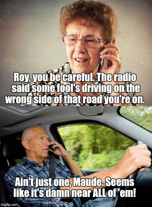 Their horns all seem to work, though...  | Roy, you be careful. The radio said some fool's driving on the wrong side of that road you're on. Ain't just one, Maude. Seems like it's dam | image tagged in elderly driver | made w/ Imgflip meme maker