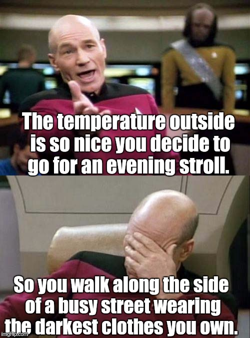 Picard WTF and Facepalm combined | The temperature outside is so nice you decide to go for an evening stroll. So you walk along the side of a busy street wearing the darkest c | image tagged in picard wtf and facepalm combined | made w/ Imgflip meme maker