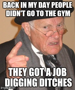 Back In My Day Meme | BACK IN MY DAY PEOPLE DIDN'T GO TO THE GYM THEY GOT A JOB DIGGING DITCHES | image tagged in memes,back in my day | made w/ Imgflip meme maker