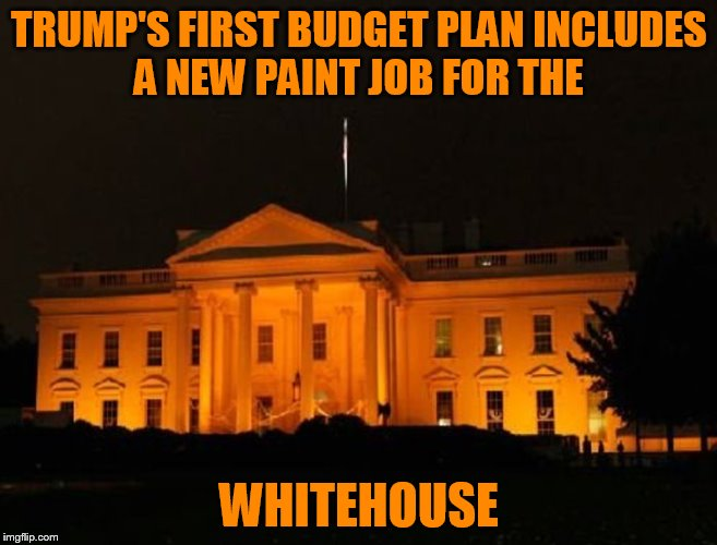 Orange Is The New White! | TRUMP'S FIRST BUDGET PLAN INCLUDES A NEW PAINT JOB FOR THE WHITEHOUSE | image tagged in funny memes,donald trump,white house,orange,memes,jokes | made w/ Imgflip meme maker