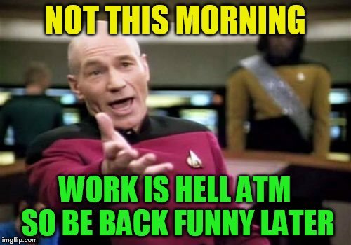 Picard Wtf Meme | NOT THIS MORNING WORK IS HELL ATM SO BE BACK FUNNY LATER | image tagged in memes,picard wtf | made w/ Imgflip meme maker